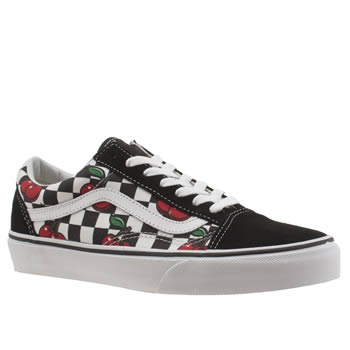 Vans Black & Red Old Skool Cherry Checkers Trainers