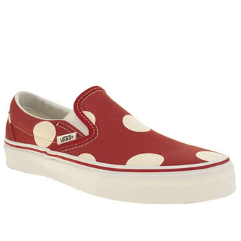 Womens Vans Red Classic Slip Polka Dots Trainers