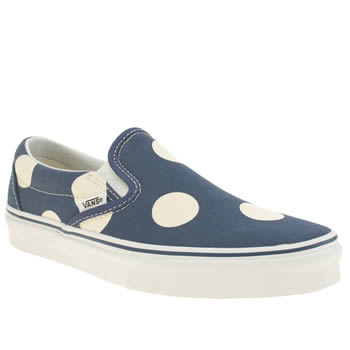 Womens Vans Navy Classic Slip Polka Dots Trainers
