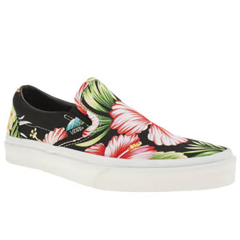 Vans Black & Green Classic Slip Hawaiian Trainers