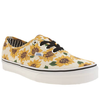 Vans White & Yellow Authentic Sunflower Trainers