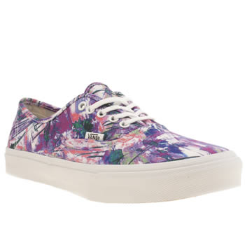 Womens Vans Purple Authentic Slim Paint Trainers