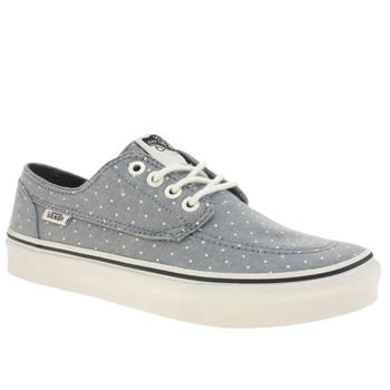 Womens Vans Navy & White Brigata Slim Chambray Dot Trainers