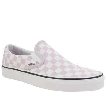 Vans White & Pink Classic Slip Checkerboard Trainers