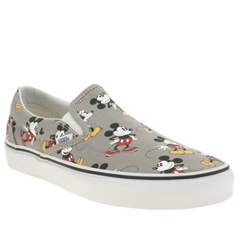 Womens Vans Grey & Black Disney Mickey Mouse Slip On Trainers
