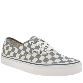 Vans White & Pl Blue Authentic Checkerboard Trainers