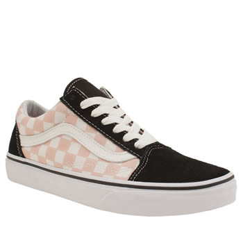 Vans White & Pink Old Skool Checkerboard Trainers