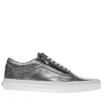 VANS SILVER & BLACK OLD SKOOL ZIP DISCO PYTHON TRAINERS