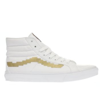Vans White & Gold Sk8-hi Nintendo Console Womens Trainers