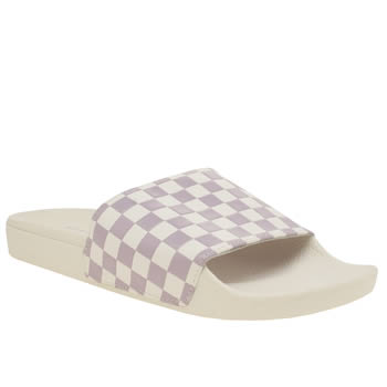 VANS WHITE & PURPLE SLIDE-ON SANDALS