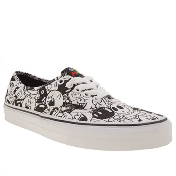 Vans White & Black Authentic Nintendo Villains Trainers
