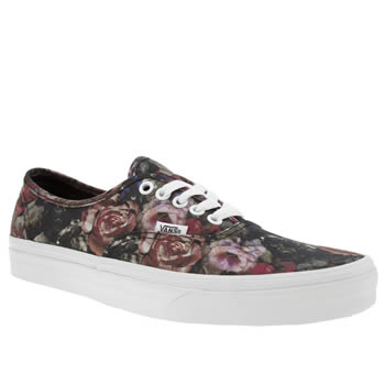 Vans Black & pink Authentic Vintage Floral Womens Trainers