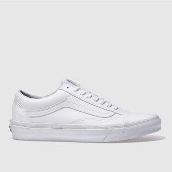 Vans White Old Skool Tumbled Pu Womens Trainers