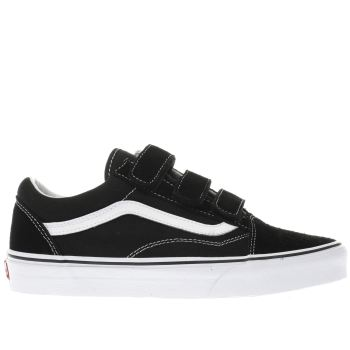 Vans Black Old Skool V Suede Canvas Womens Trainers