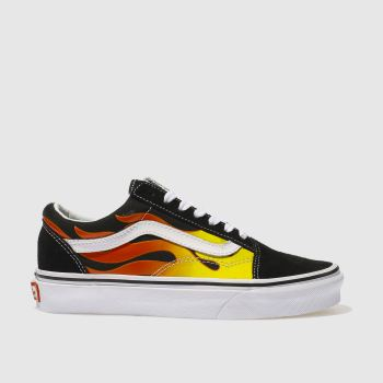 VANS BLACK & RED OLD SKOOL FLAME TRAINERS