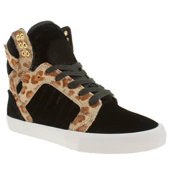 womens supra black & brown skytop ii cheetah trainers