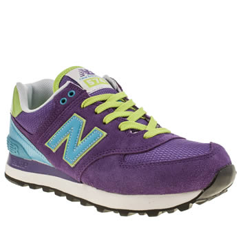 Womens New Balance Purple 574 Suede & Mesh Trainers