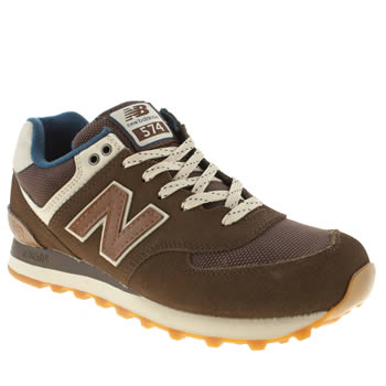 womens new balance brown 574 suede & mesh trainers