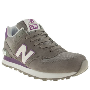 womens new balance light grey 574 suede & mesh trainers