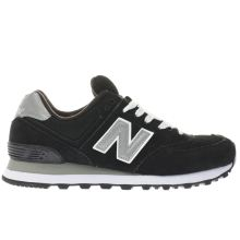 New Balance Black & White 574 Suede And Mesh Womens Trainers