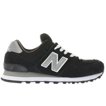 Womens New Balance Black & White 574 Suede & Mesh Trainers