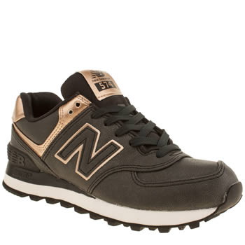 Womens New Balance Black & Gold 574 Trainers