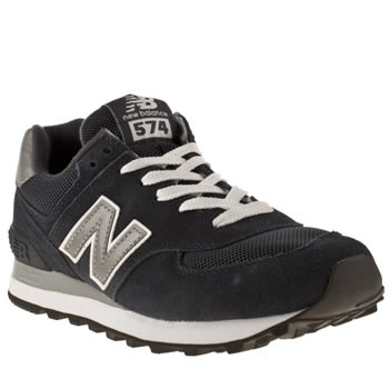 Womens New Balance Navy & Grey 574 Suede & Mesh Trainers