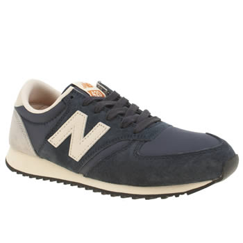 New Balance Navy 420 Suede Trainers