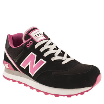womens new balance black & pink 574 stadium jacket trainers