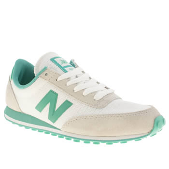 New Balance White & Green 410 Ii Trainers