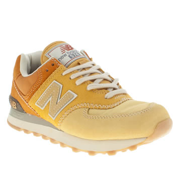 womens new balance yellow 574 suede & mesh trainers