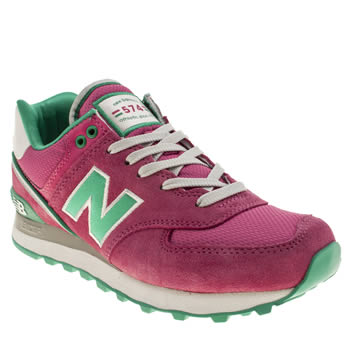 womens new balance pink 574 suede & mesh trainers