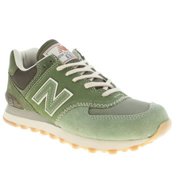 womens new balance green 574 suede & mesh trainers