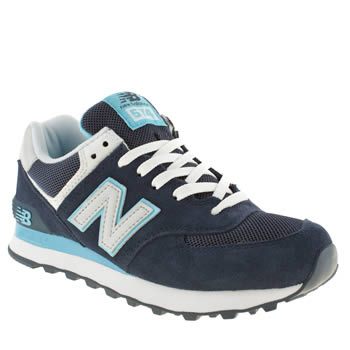 womens new balance navy & pl blue 574 trainers