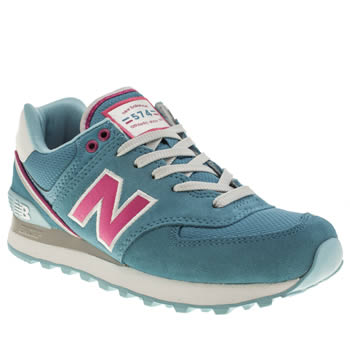 womens new balance blue 574 suede & mesh trainers