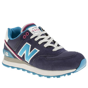 womens new balance navy & white 574 trainers