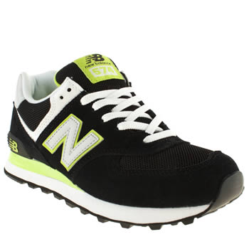 womens new balance black & green 574 trainers