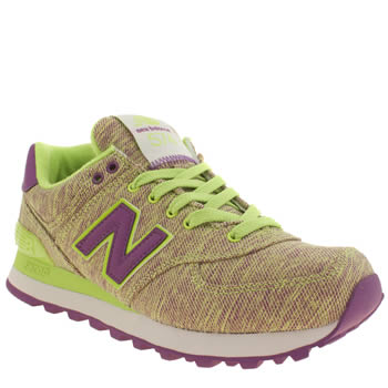 New Balance Grey & Lime 574 Trainers
