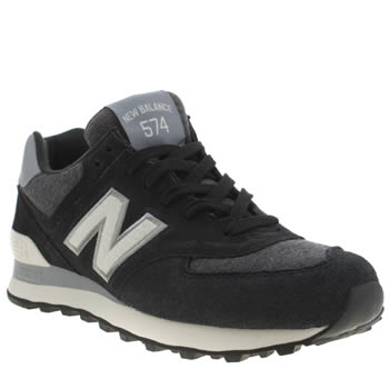 New Balance Black & White 574 Pennant Trainers