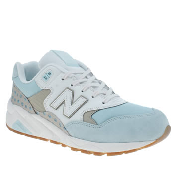 Womens New Balance White & Pl Blue 580 Trainers