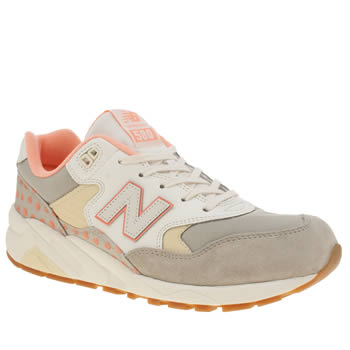 New Balance White & grey 580 Womens Trainers