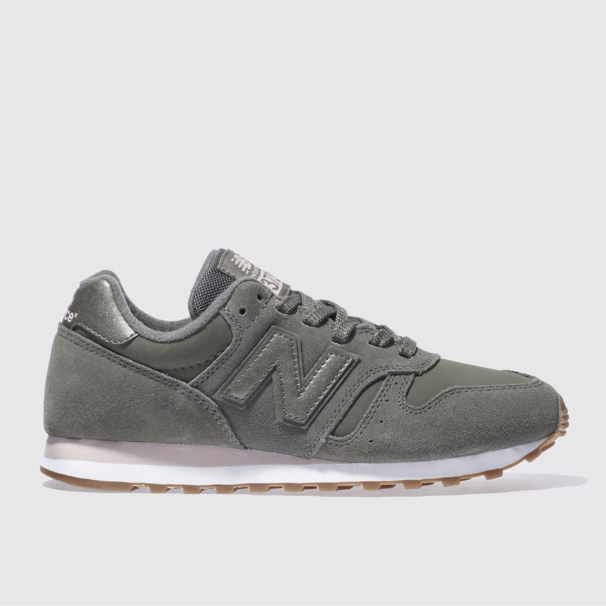 new balance khaki 373 suede trainers