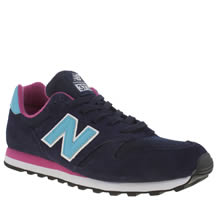 New Balance Navy & Pale Blue 373 Suede & Mesh Trainers