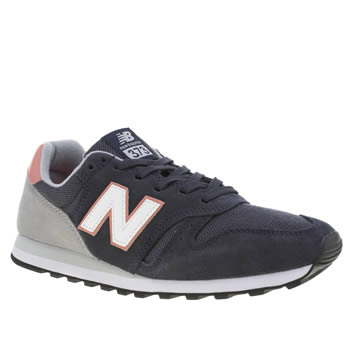 New Balance Navy & White 373 Suede & Mesh Trainers