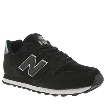 Womens New Balance Black & Silver 373 Suede & Mesh Trainers