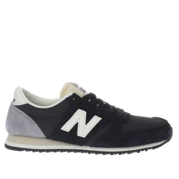 New Balance Black & Grey 420 Suede Trainers