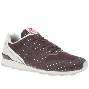 Womens New Balance Burgundy 996 Polka Dots Trainers