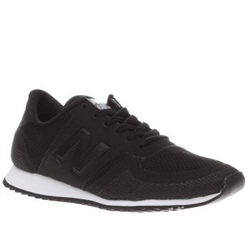 New Balance Black & White 420 Microfibre Trainers