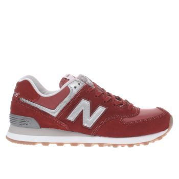 New Balance Red 574 V1 Womens Trainers