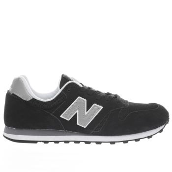 NEW BALANCE BLACK & SILVER 373 V1 SUEDE TRAINERS